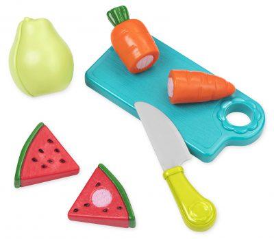 Kids cutting board, knife, and velcro foods cut in half (carrot, watermelon, pear).