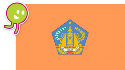 Flag of Bali with a circular character.