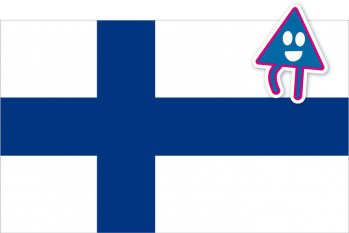 Flag of Finland with a triangular character.