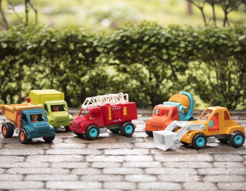 Toy fire truck, front end loader, dump truck, garbage truck, and cement truck.