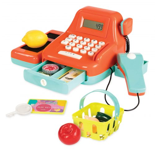 Toy cash register and accessories.
