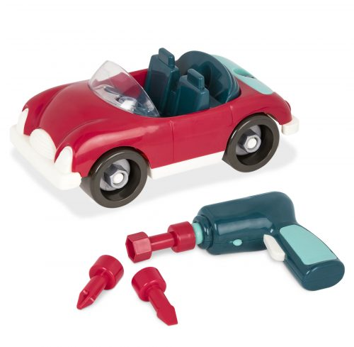 Red take-apart toy car with toy drill.