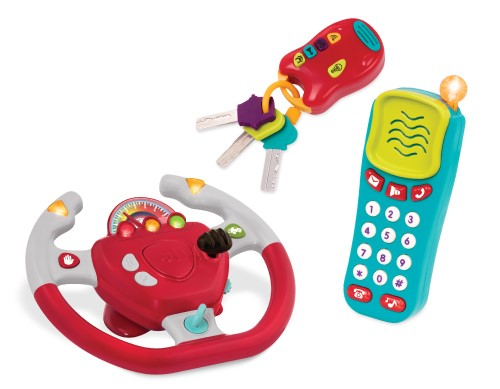 Toy steering wheel, toy cell phone, and toy keys.