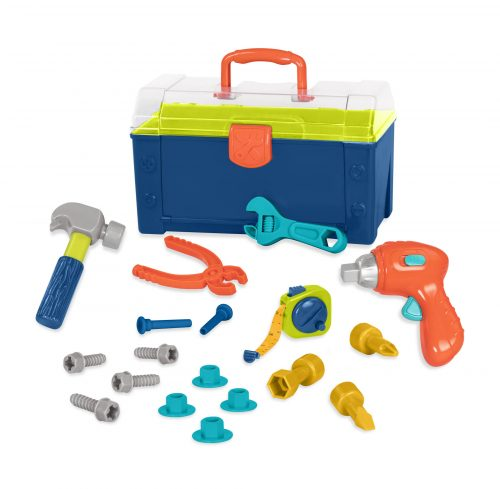 Toy toolbox with toy tools