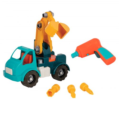 Take-apart toy crane with toy drill