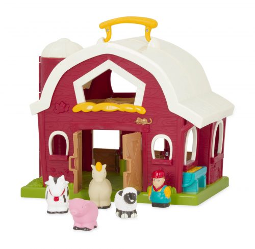 Toy barn with toy animals and farmer figurine