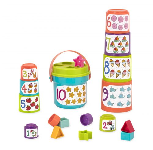 Stacking cups with numbers and illustrations, shapes, and a shape sorter.