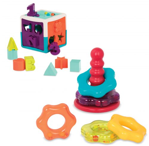 Shape sorter toy and stacking rings.