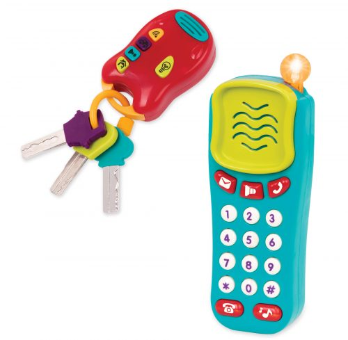 Toy phone and toy car keys.