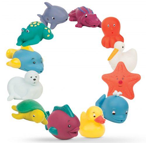 12 colorful sea creature bath toys arranged in a circle.