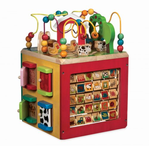 Wooden activity centre for kids.