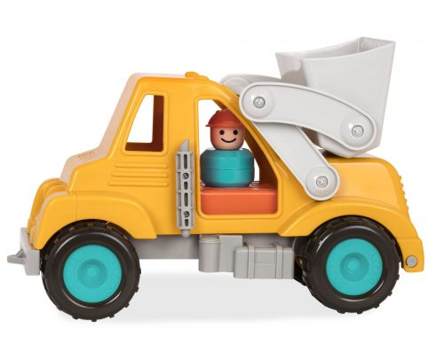 Toy front-end loader and toy character.