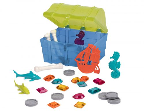 Pool toys in toy treasure chest.