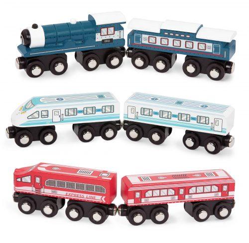 3 wooden trains.