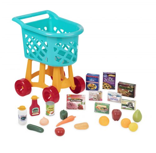 Toy grocery cart and play kitchen accessories.