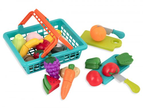 Play food, basket, toy knives, toy cutting boards.
