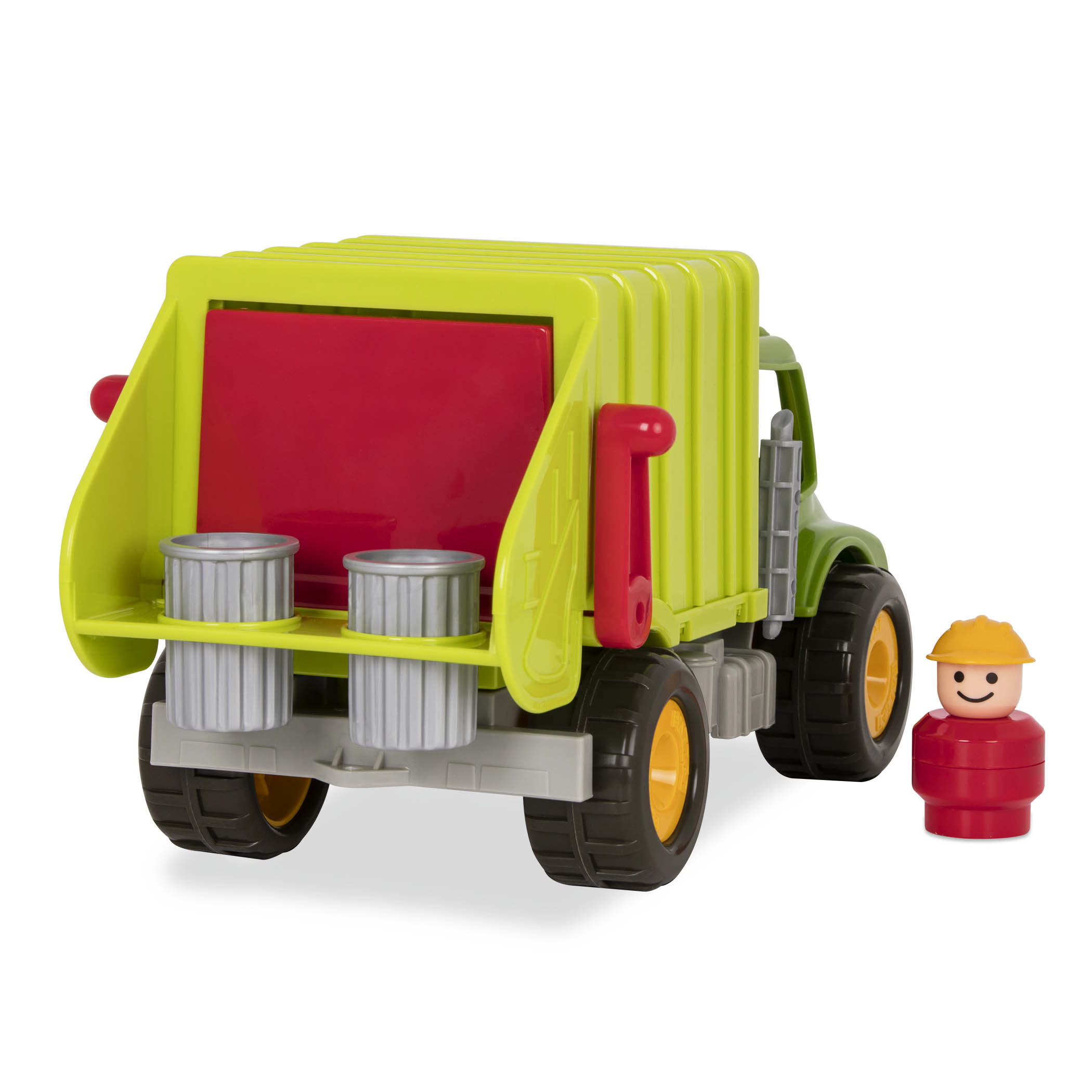 Toy garbage truck and toy character.
