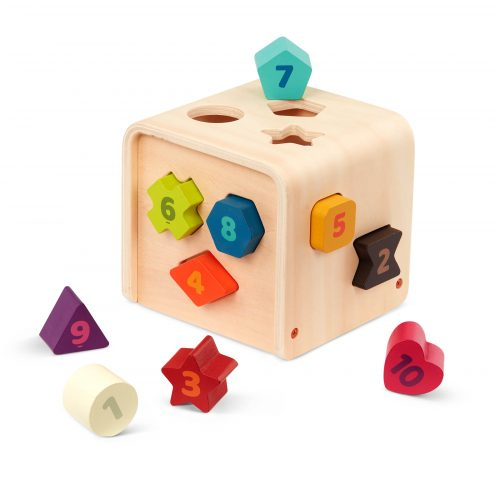 Shape sorting cube toy.