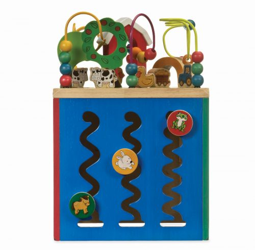 Wooden toy activity cube.
