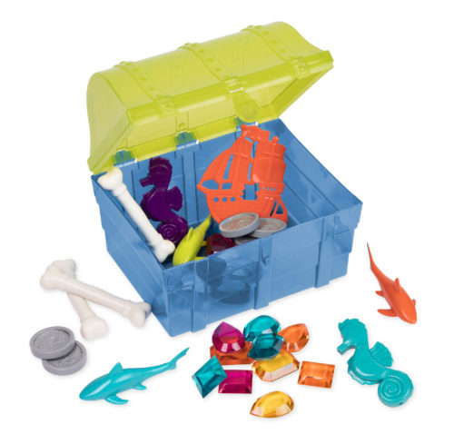 Pool toys in and around a toy treasure chest.